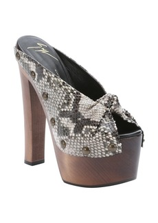 Giuseppe Zanotti brown snake-embossed leather 'Saintro' platform clogs