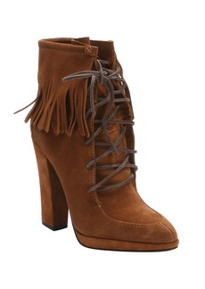 Giuseppe Zanotti brown suede fringed 'Uma' ankle booties