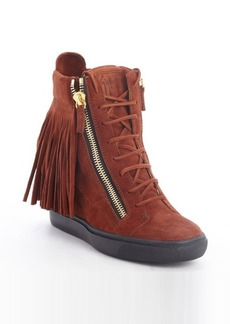 Giuseppe Zanotti brown suede fringed zipper detail wedge booties