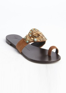 Giuseppe Zanotti brown suede metal and turquoise embellished flat sandals