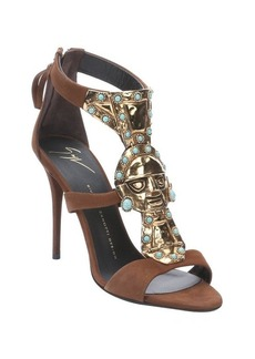 Giuseppe Zanotti brown suede metal and turquoise embellished strappy sandals