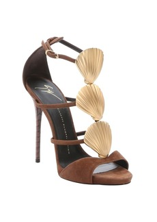 Giuseppe Zanotti brown suede shell detail stiletto sandals