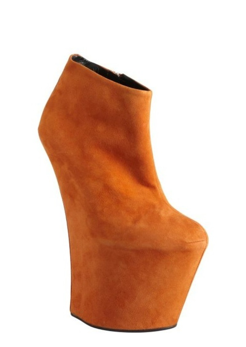 Giuseppe Zanotti burnt orange suede sculpted wedge ankle boots