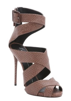Giuseppe Zanotti burnt taupe snake embossed 'Coline' strappy sandals