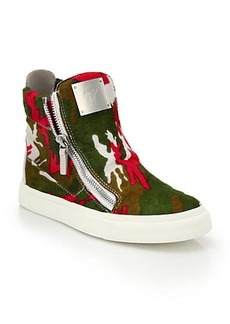 Giuseppe Zanotti Camouflage-Print Calf Hair High-Top Sneakers
