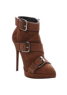 Giuseppe Zanotti cigar brown suede buckle detail 'Emy' booties
