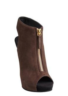 Giuseppe Zanotti coffee and black suede zip front cutout heel kitten wedge booties