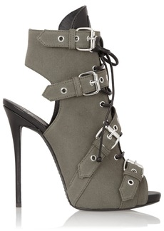 Giuseppe Zanotti Coline cutout canvas and leather ankle boots
