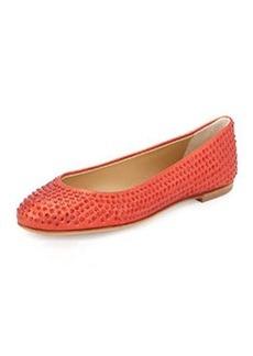 Giuseppe Zanotti Crystal-Embellished Ballet Flat, Red