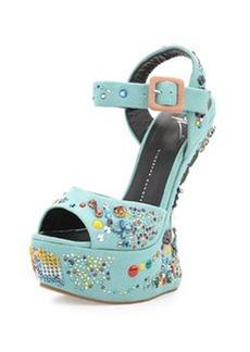 Giuseppe Zanotti Crystal-Embellished Suede Wedge Sandal, Light Blue