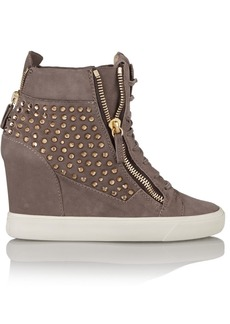 Giuseppe Zanotti Crystal-embellished suede wedge sneakers
