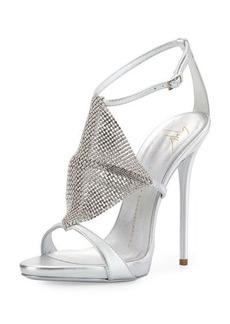 Giuseppe Zanotti Crystal Mesh Metallic Sandal, Silver