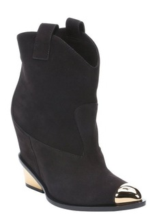 Giuseppe Zanotti ebony suede 'Torero' gold plate detail ankle boots
