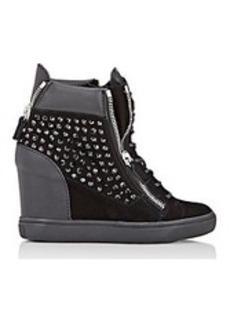 Giuseppe Zanotti Embellished Double-Zip Wedge Sneakers