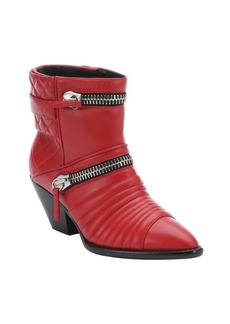 Giuseppe Zanotti fiamma red leather 'Guns 55' zip detail ankle booties