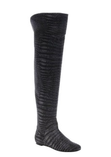 Giuseppe Zanotti fumo croc printed suede rear zip over-the-knee boots