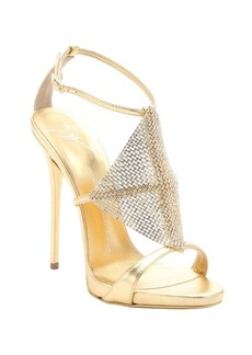 Giuseppe Zanotti gold leather crystal detail 'Coline' sandals