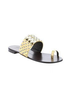 Giuseppe Zanotti gold patent leather 'Rock 10' studded flat sandals