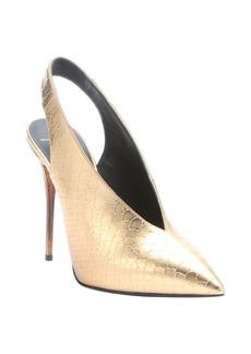 Giuseppe Zanotti gold scaled leather 'Yvette' pointed toe slingback heels