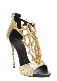 Giuseppe Zanotti gold snake-embossed coral detail stiletto sandals