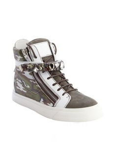 Giuseppe Zanotti green and white camouflage leather and suede jewel fastening tape snrakers