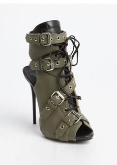 Giuseppe Zanotti green canvas leather trimmed military open toe pumps