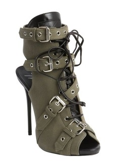 Giuseppe Zanotti green canvas leather trimmed military peep-toe booties