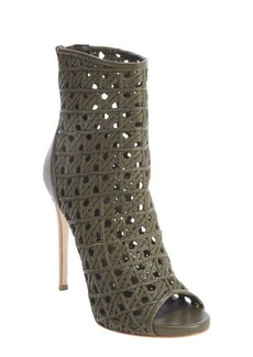 Giuseppe Zanotti green leather woven detail open toe booties