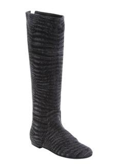 Giuseppe Zanotti grey snakeskin printed suede rear zip boots