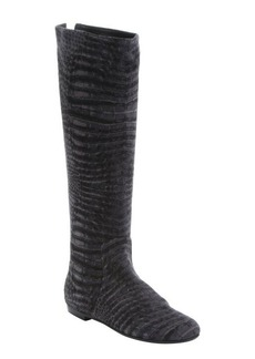 Giuseppe Zanotti grey snakeskin printed suede zip boots