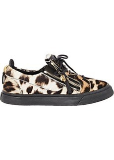 Giuseppe Zanotti Haircalf Double-Zip Low-Top Sneakers