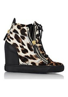 Giuseppe Zanotti Haircalf Double-Zip Wedge Sneakers