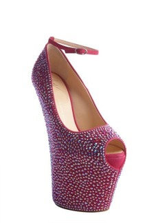 Giuseppe Zanotti hot pink crystal covered leather high platform heels