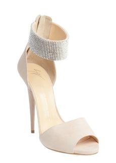 Giuseppe Zanotti ivory suede rhinestone ankle cuff open toe sandals