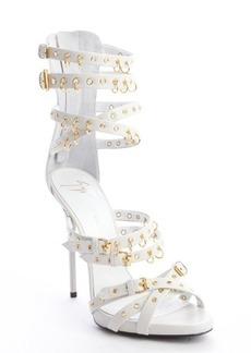 Giuseppe Zanotti jeti off white leather strappy grommet platform sandals