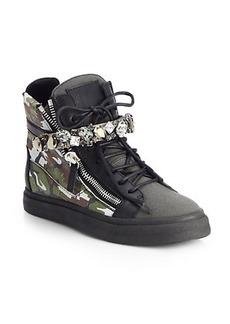 Giuseppe Zanotti Jeweled Camouflage Leather Wedge Sneakers
