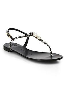 Giuseppe Zanotti Jeweled Leather T-Strap Sandals
