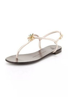 Giuseppe Zanotti Jeweled Metallic Thong Sandal, Gray