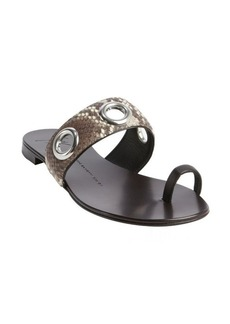 Giuseppe Zanotti khaki snake printed leather grommet detail slip on sandals