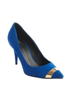 Giuseppe Zanotti klein blue suede pointed cap toe pumps