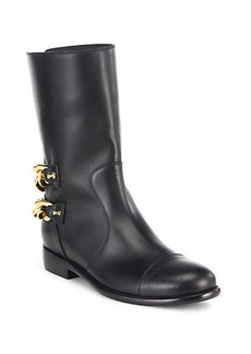Giuseppe Zanotti Leather Double-Chain Motorcycle Boots