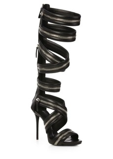 Giuseppe Zanotti Leather Knee-High Zipper Gladiator Sandals