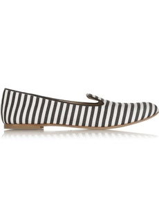Giuseppe Zanotti Leather-piped striped twill slippers