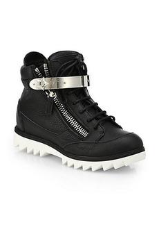 Giuseppe Zanotti Leather Ridged-Sole High-Top Sneakers