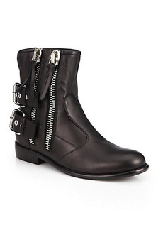 Giuseppe Zanotti Leather Zip-Trimmed Moto Ankle Boots