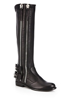 Giuseppe Zanotti Leather Zip-Trimmed Moto Boots