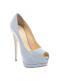 Giuseppe Zanotti light blue beaded 'Sharon' platform peep toe pumps
