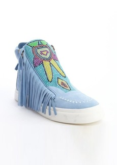Giuseppe Zanotti light blue suede tassel and beaded detail high top sneakers
