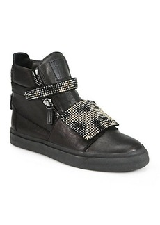 Giuseppe Zanotti Limited-Edition Crystal-Coated Leather High-Top Sneakers