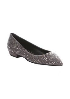 Giuseppe Zanotti malta suede crystal studded detail pointed toe flats